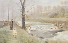 WOMAN AND CHILD AT WATERFALL Old World Sofa Size Painting on Canvas by F. Murray