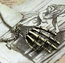 Skeleton Hand Skull Steam Punk Necklace Pendant Charm Horror Slasher Gothic