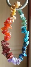 BRACELET WITH 7 COLOUR CHIPPED BEAD GEMSTONES HEALING REIKI ENERGY CHAKRA WOW!