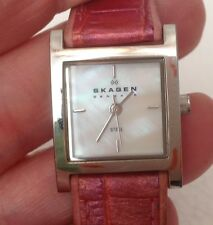 Skagen Denmark Ladies Steel Watch-Mother of Pearl Dial Leather Band-Working L@@K