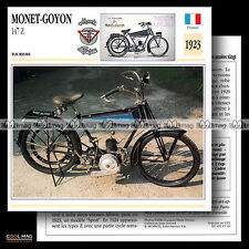 #015.09 MONET-GOYON MODEL 147 Z 1923 1920's Fiche Moto Classic Motorcycle Card