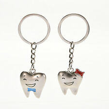 1Pair Tooth Couple Metal Keychain Keyring Gift For Lover Children Friend CXF