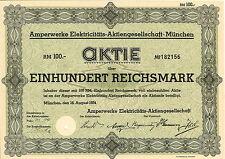 Amperwerke Elektricitäts-AG 100 RM 1934 Munich