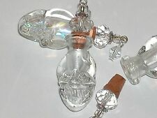 1pc Glass Skull BOTTLE Vampire Witch skeleton oil perfume bottle cork pendant