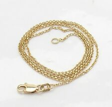 "1.1mm Mens 24"" Cable Link Chain Necklace Real Solid 14K Yellow Gold 2.40 grams"