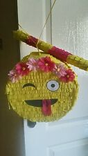 Flowers Winking Emoji  Pinata Sweets Birthday Party & Stick can be personalised