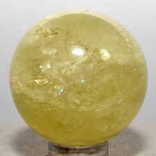 36mm Rainbow Yellow Citrine Sphere Sparkling Natural Crystal Mineral Gemstone