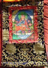 Elegant Tibetan Thangka Painting 24K Gold Guru Rinpoche Auth WC w/ Brocade