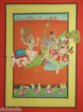 Hindu God Vishnu Laxmi Indra Painting Art Ethnic Hindu Religious India colour