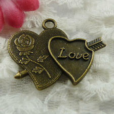 Free Ship 22 pieces bronze plated heart pendant 34x27mm #604