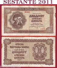 SERBIA -   20 SRPSKIH  DINARA 1.5. 1941 -   P 25    -     BB / VF