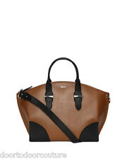 Alexander McQueen Legend Leather Shopper tote brown black large bag  $2395 nwt