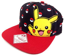 BLACK RED POKEMON PIKACHU POKEBALL SNAPBACK HAT CAP ADJUSTABLE LOGO NINTENDO NWT