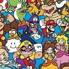 Nintendo Super Mario Packed Characters Video Game Cotton Fabric by the Yard