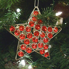Christmas Ornament Red Star Tree Decoration Handmade Crystal Bead Sun Catcher