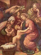 La Sainte Famille - Copie d'après Raffael peint à la bouche de R.Crotta