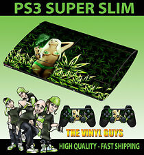 PLAYSTATION PS3 SUPER SLIM CANNABIS GIRL WEED BIKINI SKIN STICKER & 2 PAD SKIN