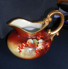 Antique Pickard Limoges Hand Painted Autumn Curaants Pitcher