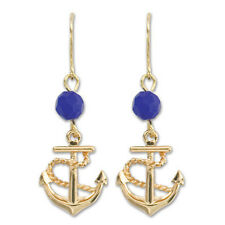 PERIWINKLE by BARLOW Gold ANCHOR Blue Bead Nautical Dangle Earrings NWT