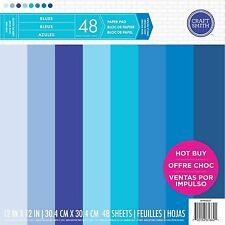 Craft Smith BLUES Paper Pad 48 Scrapbook Sheets 12 x 12 Textured Cardstock  NEW
