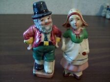 VINTAGE  MAN AND WOMAN SALT AND PEPPER SHAKERS WITH CORKS  MADE IN JAPAN