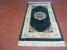 3' X 5' Vintage Plush Carved Sculpted Hand Made Art Deco Chinese Wool Rug Green