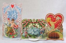 Vintage LOT Three Fold Down 3D Valentine Cards Two Germany Cupid Flwrs Children