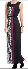 "$298 BCBG LAVENDER MIST COMBO ""CERISE"" SLEEVELESS PLEATED LONG DRESS GOWN NWT S"