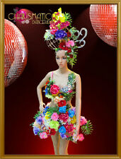 Carnival inspired flower and frond covered dress with matching headpiece