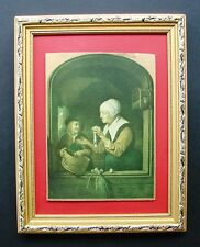 RARE ANTIQUE FRAMED PRINT ON GOLD CARD WOMAN WITH A FISH  SALVAGED & REFURBISHED