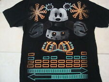 Walt Disney Mickey Mouse Stage 28 Neon Robot Souvenir Black T Shirt Size XL/L