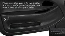 GREY STITCH 2X FRONT DOOR CARD TRIM SKIN COVERS FITS HONDA CIVIC COUPE 92-95