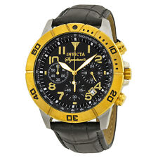 Invicta Signature II Chronograph Black Dial Black Leather Mens Watch 7284