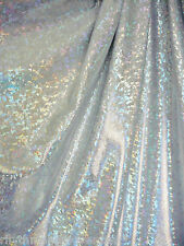 Dance Costume Lycra Spandex Silver on White Shattered Glass 50cm - 150cm wide