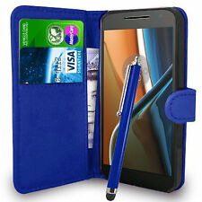 Blue Wallet Case PU Leather Book Cover For Motorola Moto G4 (2016) Mobile