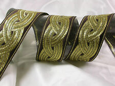 "1.3/4"" ( 45mm) Brown & Gold Celtic Weave Jacquard Ribbon x 1 yard"