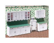 "1/4"" Scale 1938 Vintage Kitchen Cabinets Kit with 5 Countertops  1:48 qtr"