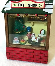 Vintage Christmas Around the World Wind Up Lighted Toy Shop Store Music Box