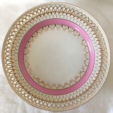 VERY BEAUTIFUL KPM GERMANY RETICULATED CABINET PLATE, PINK, GOLD