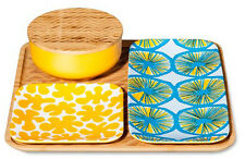 MARIMEKKO for Target Bamboo Serving Tray & Bowl - Primary Yellow/Blue - 4pc Set