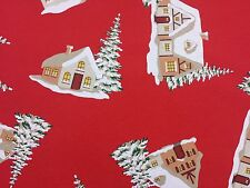 Christmas House Trees Designer Curtain Upholstery Craft Fabric