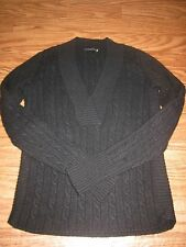 Magaschoni Black 100% Cashmere Cable Knitted Sweater Women XS **Excellent*