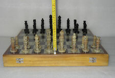 """18"""" Big Size Luxury Chess Set Wooden Box Soapstone Handmade Pieces Play Game Art"""
