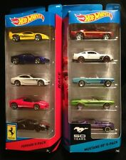 Ferrari Mustang 50th Three (2) Hot Wheels 5 Car Gift Packs