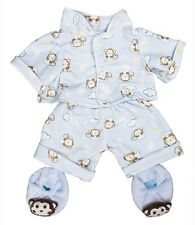 """Blue monkey pyjamas pjs & slippers outfit teddy clothes fit 15"""" build a bear"""