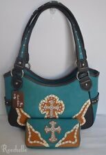 Rustic Couture's Turquoise w/ Brown Handbag Purse and Matching Wallet Lg. Cross