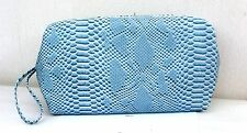 Estee Lauder Large Blue Faux Snakeskin pattern Lined Make Up/Toiletry Bag - New