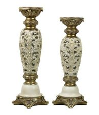 D'Lusso Designs HT24 Kayla Design Two Piece Hurricane Candlestick Set -