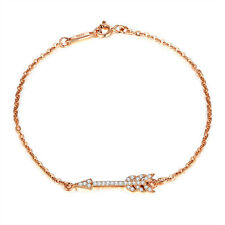 14K ROSE GOLD OVER .925 STERLING SILVER CZ SIDEWAYS ARROW BRACELET BANGLE SS2028