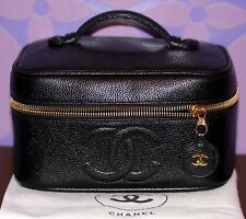 CHANEL Vintage Caviar Leather Skin *COSMETICS BAG* Vanity Makeup Case CC Logos!